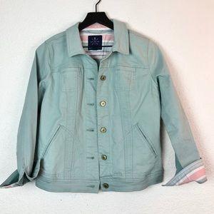 Isaac Mizrahi Live Mint Green Denim Jacket 2